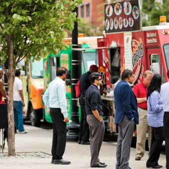 Food trucks and festivals frequent the Navy Yard neighborhood.