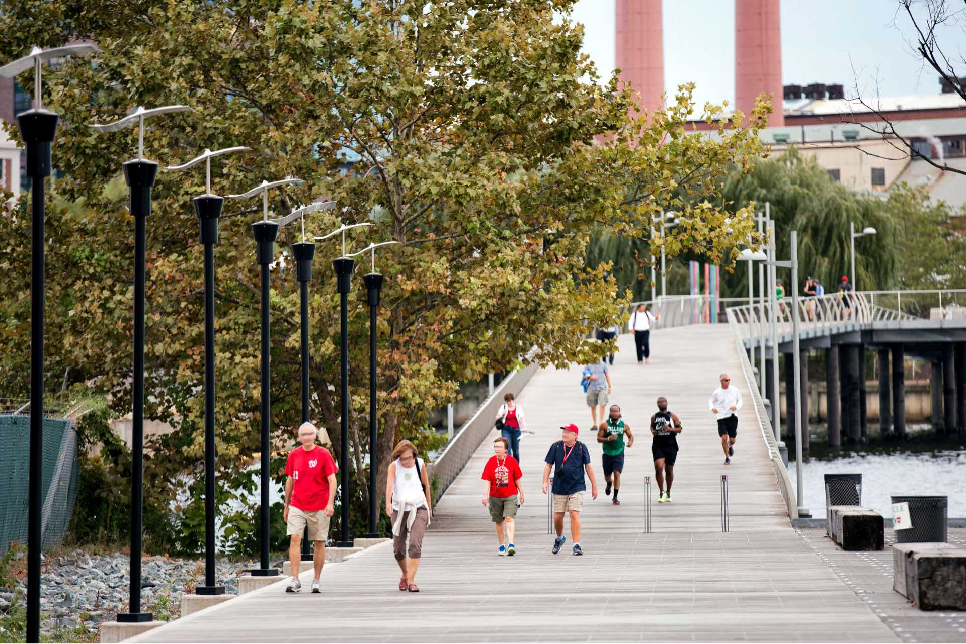 Spend your time outside along the waterfront at The Yards park.